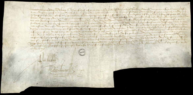 Commission délivrée à l'Amiral de Bonnivet pour construire le port du Havre (7 février 1517)