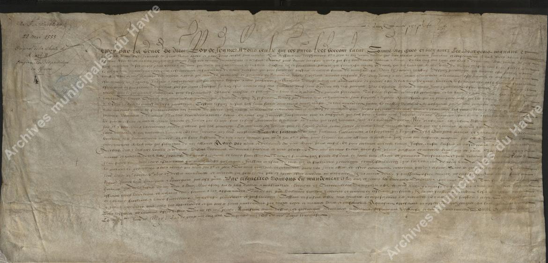 Charte de Henti II, confirmation des privilèges de franc-salé au Havre, Fontainebleau (22 mai 1555)